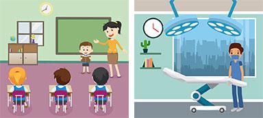 نورپردازی بیمارستان و مدرسه